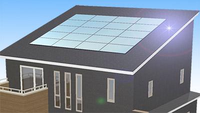 クリーンなエネルギー。太陽光発電システム