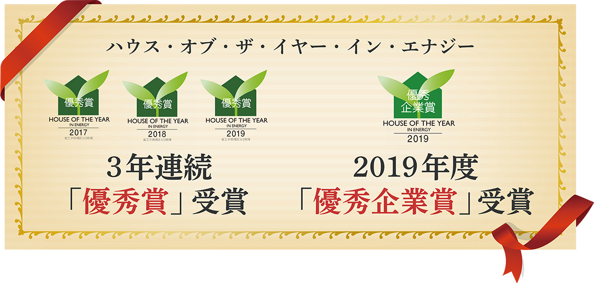 ハウス・オブ・ザ・イヤー・イン・エナジー 3年連続優秀賞受賞 2019年度優秀企業賞受賞