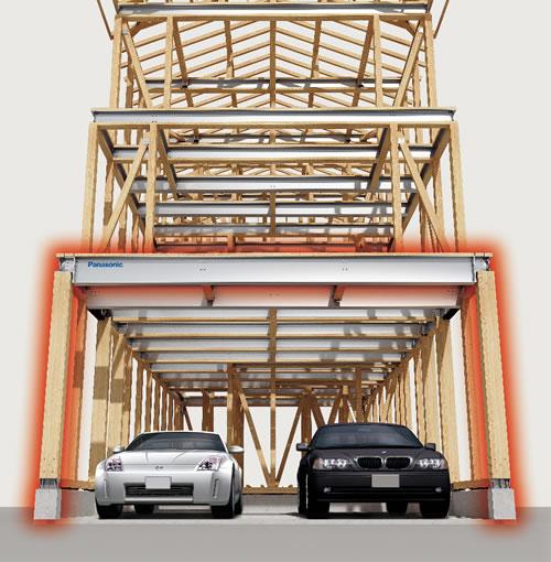 ビルトインガレージなどの大開口を可能にするMフレームシステム